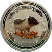 Australia 30 Dollars Year of the Pig Colorized 2007 2007 1 KILO 999 SILVER coin reverse
