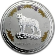 Australia 30 Dollars Year of the Tiger Colored 2010 P 2010 1 KILO 999 SILVER coin reverse