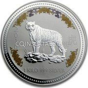 Australia 30 Dollars (Year of the Tiger Colored) 2010 1 KILO 999 SILVER coin reverse