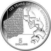 Australia 5 Dollars 125th Anniversary of Western Australia Government 2015 125 YEARS OF STATE GOVERNMENT 5 DOLLARS coin reverse