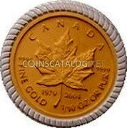 Canada 5 Dollars (An Era of Triumph 25th Anniversary) CANADA FINE GOLD 1/10 OZ OR PUR 9999 9999 1979 2004 coin reverse