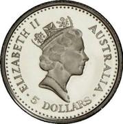Australia 5 Dollars Koala 1989 Proof KM# 122 ELIZABETH II AUSTRALIA 5 DOLLARS coin obverse
