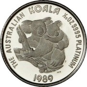 Australia 5 Dollars Koala 1989 Proof KM# 122 THE AUSTRALIAN KOALA 1/20 OZ 9995 PLATINUM 1989 coin reverse