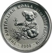 Australia 5 Dollars Koala 2000 KM# 469 THE AUSTRALIAN KOALA 1/20 OZ .9995 PLATINUM 2000 coin reverse
