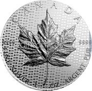 Canada 5 Dollars (Maple leaf) KM# 625a 9999 9999 CANADA FINE SILVER 1 OZ ARGENT PUR coin reverse