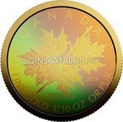 Canada 5 Dollars (Maple Leaf) CANADA FINE GOLD 1/10 OZ OR PURE coin reverse