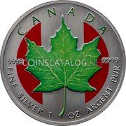 Canada 5 Dollars (Maple Leaf Colored)  coin reverse