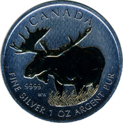 Canada 5 Dollars Moose 2012 UNC KM# 1241 CANADA 9999 WW FINE SILVER 1 OZ ARGENT PUR coin reverse