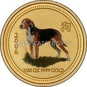 Australia 5 Dollars (Year of the Dog Colored) 2006 1/20 OZ 9999 GOLD coin reverse