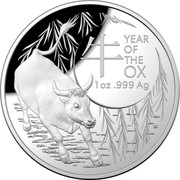 Australia 5 Dollars Year of the Ox 2021 UNC - Domed Proof 牛 YEAR OF THE OX 1 OZ 999 AG coin reverse