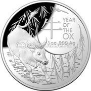 Australia 5 Dollars (Year of the Ox) 牛 YEAR OF THE OX 1 OZ 999 AG coin reverse