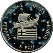 Greece 5 ECU Alexander the Great 1994 UNC X# 38 5 ECU EUROPA ΕΛΛΑΣ HELLAS ΕΨΡΩΠΗ coin obverse