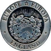 UK 5 ECU SS Great Britain Mule ND EUROPE EUROPA ENGLAND coin obverse