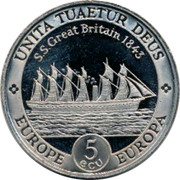 UK 5 ECU SS Great Britain Mule ND UNITA TUAETUR DEUS S.S. GREAT BRITAIN 1843 EUROPE 5 ECU EUROPA coin reverse