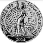 UK 5 Pence Britannia 2014 Proof BRITANNIA 999 1/40 OZ FINE SILVER 2014 coin reverse