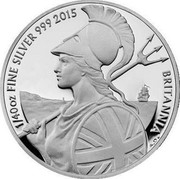 UK 5 Pence Britannia in profile 2015 Proof 1/40 OZ FINE SILVER 999 2015 BRITANNIA coin reverse