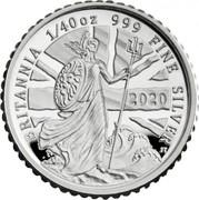 UK 5 Pence Britannia The Spirit of a Nation 2020 Proof BRITANNIA 1/40 OZ 999 FINE SILVER 2020 JT coin reverse