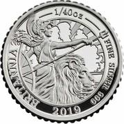 UK 5 Pence The Britannia 2019 Proof BRITANIA 1/40 OZ FINE SILVER 999 2019 coin reverse