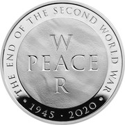 UK 5 Pounds The End of the Second World War Piedfort 2020 Proof THE END OF THE SECOND WORLD WAR W PEACE R CD 1945 2020 MD coin reverse
