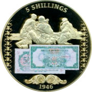 UK 5 Shillings British Military Money 2014 Proof 5 SHILLINGS 1946 coin reverse