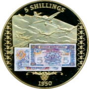 UK 5 Shillings British Planes 2014 Proof 5 SHILLINGS 1950 coin reverse
