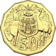 Australia 50 Cents (50th Anniversary of the Opening of the Royal Australian Mint) 50 SD coin reverse