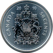 Canada 50 Cents Coat of Arms 2010 KM# 494a CANADA 2010 50 CENTS coin reverse