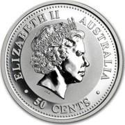 Australia 50 Cents Lunar Rooster 2005 KM# 814 ELIZABETH II AUSTRALIA IRB 50 CENTS coin obverse