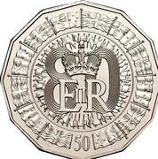 Australia 50 Cents Queen's 80th Birthday 2006 BU 80 E II R 50 coin reverse