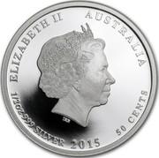Australia 50 Cents Snugglepot and Cuddlepie 2015 P ELIZABETH II AUSTRALIA 1/2 OZ 999 SILVER 2015 50 CENTS coin obverse
