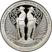 New Zealand 50 Cents (Spirit of ANZAC) THE SPIRIT OF ANZAC • WE WILL REMEMBER THEM 1915 - 2015 50 CENTS coin reverse