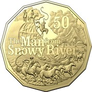 Australia 50 Cents The Man from Snowy River 2020  50 THE MAN FROM SNOWY RIVER coin reverse