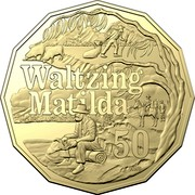 Australia 50 Cents Waltzing Matilda 2020  WALTZING MATILDA 50 coin reverse