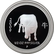 Australia 50 Cents Year of the Ox 2009 P Proof 牛 2 0 0 9 1/2 OZ 999 SILVER coin reverse