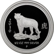 Australia 50 Cents Year of the Tiger 2010 P Proof 2 虎 0 1 0 1/2 OZ 999 SILVER P coin reverse