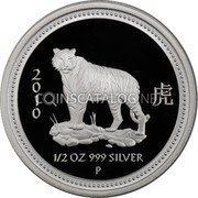 Australia 50 Cents (Year of the Tiger) 2 虎 0 1 0 1/2 OZ 999 Silver P coin reverse