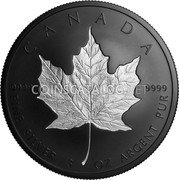 Canada 50 Dollars (Maple Leaf Black) 9999 CANADA 9999 FINE SILVER 3 OZ ARGENT PUR coin reverse