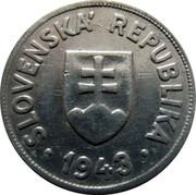 Slovakia 50 Halierov Zink Trial Strike 1944 SLOVENSKÁ REPUBLIKA 1943 coin obverse