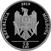 Moldova 50 Lei Mihai Volontir 2019 proof REPUBLICA 2019 MOLDOVA 50 LEI coin obverse