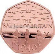 UK 50 Pence (Battle Of Britain (Piedfort)) THE BATTLE OF BRITAIN GB 1940 coin reverse