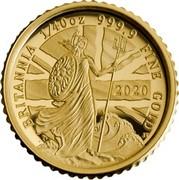 UK 50 Pence Britannia The Spirit of a Nation 2020 Proof BRITANNIA 1/40 OZ 999.9 FINE GOLD 2020 coin reverse
