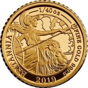UK 50 Pence The Britannia 2019 Proof BRITANIA 1/40 OZ FINE GOLD 999.9 2019 coin reverse