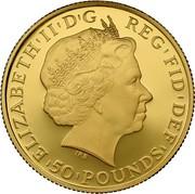 UK 50 Pounds Britannia Owl 2013 KM# 1272 ELIZABETH II D G REG FID 50 POUNDS coin obverse