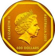 Australia 500 Dollars Road Sign Emu 2015 ELIZABETH II AUSTRALIA 2015 500 DOLLARS coin obverse