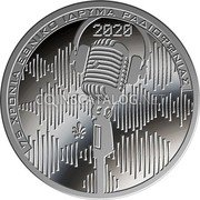 Greece 6 Euro (75 Years of Radio Foundation) 75 ΧΡΟΝΙΑ ΕΘNIKO IΔPYMA ΡΑΔΙΟΦΩΝIAΣ 2020 coin reverse