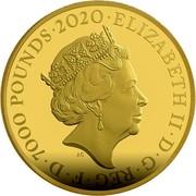 UK 7000 Pounds Bond - 007 2020 ELIZABETH II D G REG F D 7000 POUNDS 2020 coin obverse