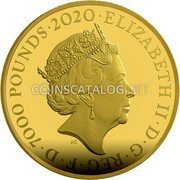 UK 7000 Pounds (Bond - 007) ELIZABETH II D G REG F D 7000 POUNDS 2020 coin obverse