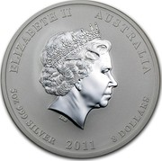 Australia 8 Dollars Year of the Rabbit - Colored 2011 P ELIZABETH II AUSTRALIA 5 OZ 999 SILVER 2011 8 DOLLARS IRB coin obverse