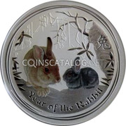 Australia 8 Dollars Year of the Rabbit - Colored 2011 P YEAR OF THE RABBIT P coin reverse