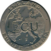 UK ECU Britannia 1992 UNC ENGLAND EUROPE EUROPA ECU coin obverse